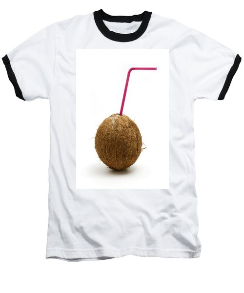Coconut With A Straw Baseball T-Shirt