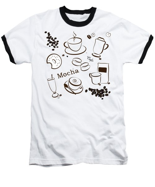 Coffee And Cafe Background Baseball T-Shirt by Serena King
