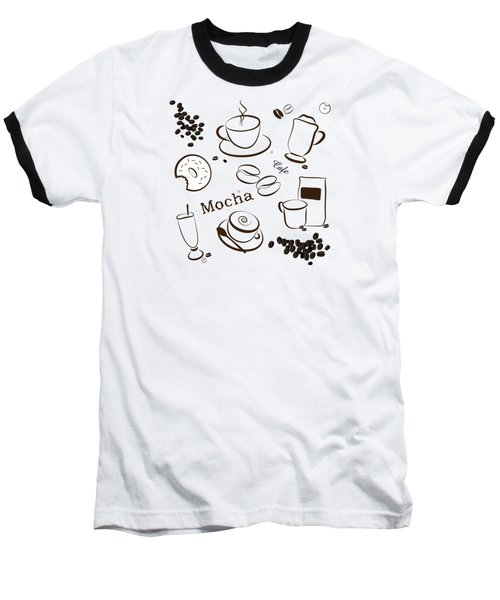 Coffee/cafe Pattern Background Baseball T-Shirt by Serena King