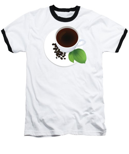 Coffee Cup On Saucer With Beans Baseball T-Shirt by Serena King