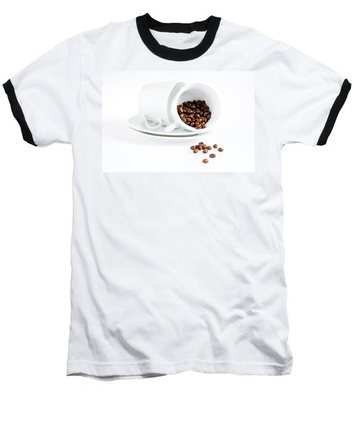 Coffee Cups And Coffee Beans  Baseball T-Shirt