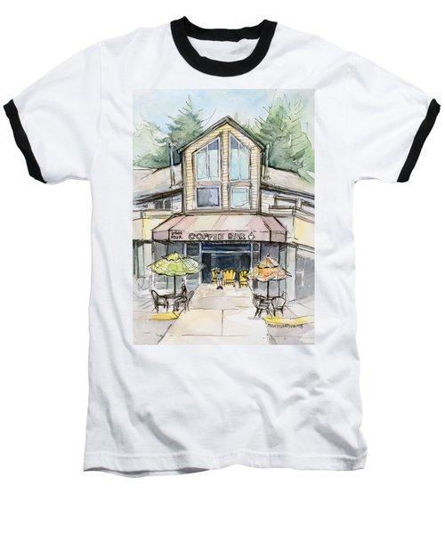 Coffee Shop Watercolor Sketch Baseball T-Shirt by Olga Shvartsur