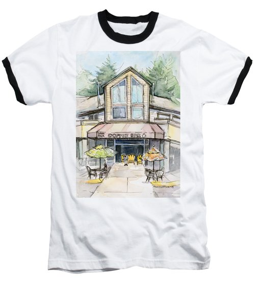 Coffee Shop Watercolor Sketch Baseball T-Shirt