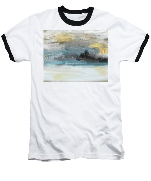 Cold Day Lakeside Abstract Landscape Baseball T-Shirt