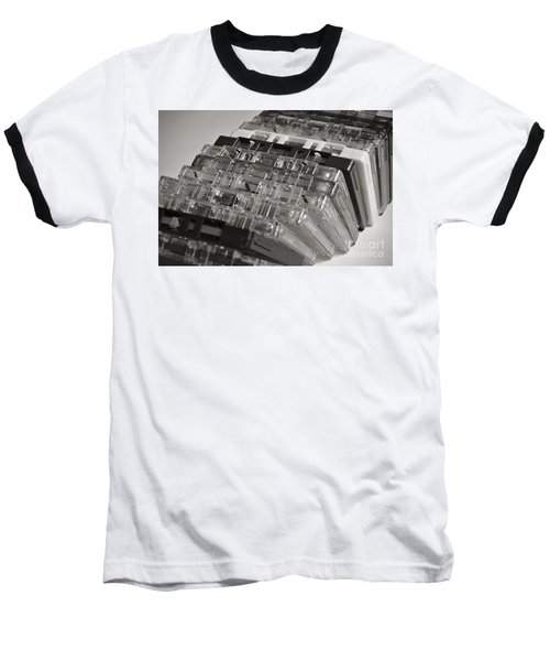 Collection Of Audio Cassettes With Domino Effect Baseball T-Shirt by Angelo DeVal