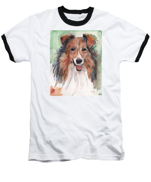 Collie, Shetland Sheepdog Baseball T-Shirt by Maria's Watercolor