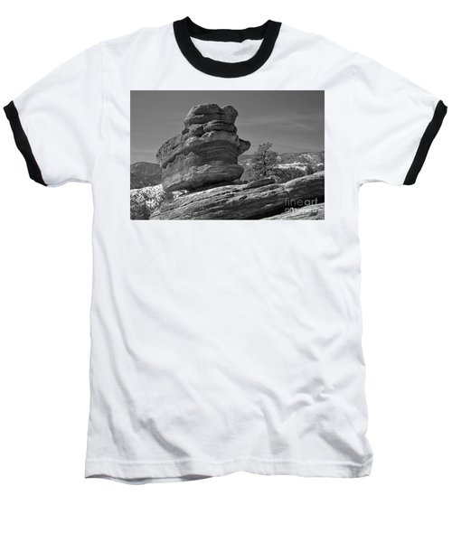 Baseball T-Shirt featuring the photograph Colorado Springs Balanced Rock Black And White by Adam Jewell