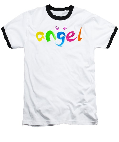 Colorful Angel Baseball T-Shirt by Tim Gainey