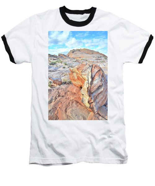Colorful Boulder At Valley Of Fire Baseball T-Shirt by Ray Mathis