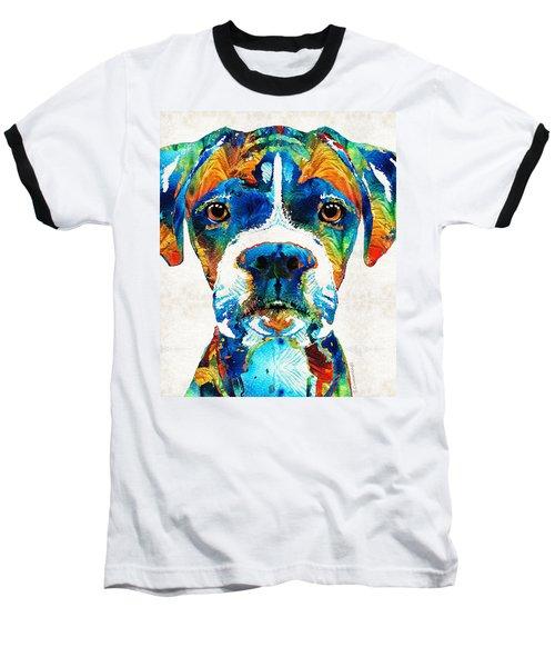 Colorful Boxer Dog Art By Sharon Cummings  Baseball T-Shirt