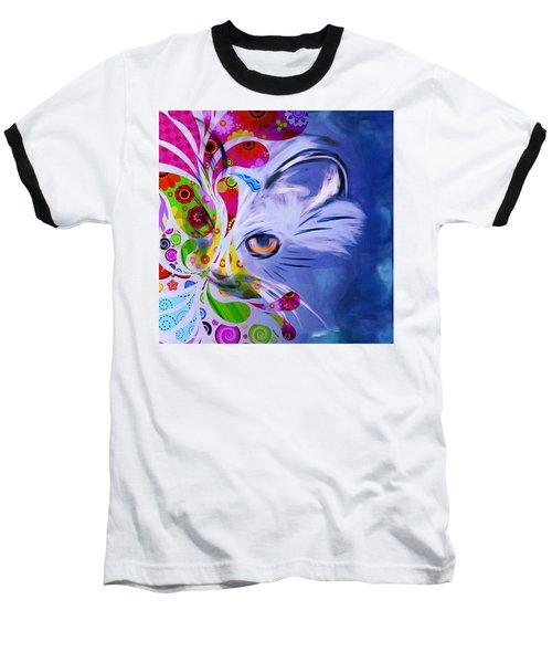 Baseball T-Shirt featuring the mixed media Colorful Cat World by Gabriella Weninger - David