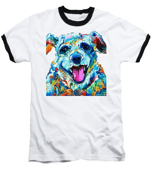 Colorful Dog Art - Smile - By Sharon Cummings Baseball T-Shirt