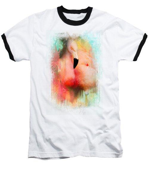 Colorful Expressions Flamingo Baseball T-Shirt by Jai Johnson
