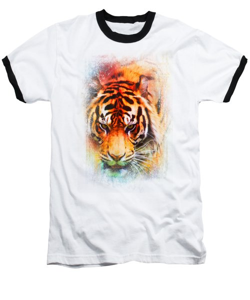 Colorful Expressions Tiger Baseball T-Shirt by Jai Johnson