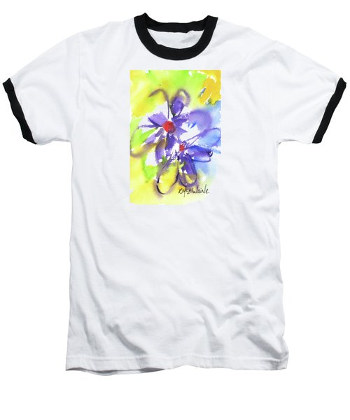 Colorful Flower Baseball T-Shirt by Kathleen McElwaine