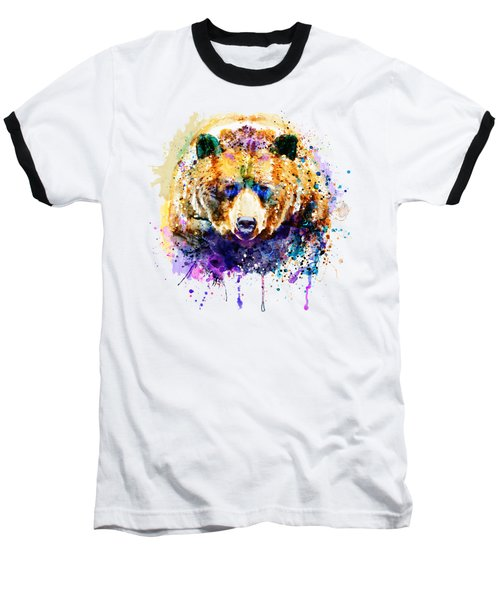 Colorful Grizzly Bear Baseball T-Shirt