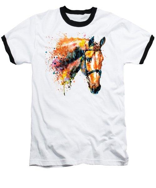 Colorful Horse Head Baseball T-Shirt by Marian Voicu