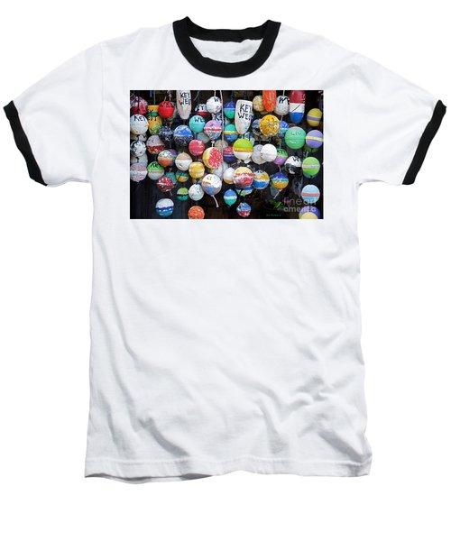 Colorful Key West Lobster Buoys Baseball T-Shirt by John Stephens