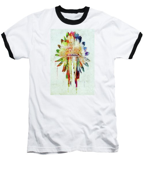 Colorful Lakota Sioux Headdress Baseball T-Shirt by Olga Hamilton
