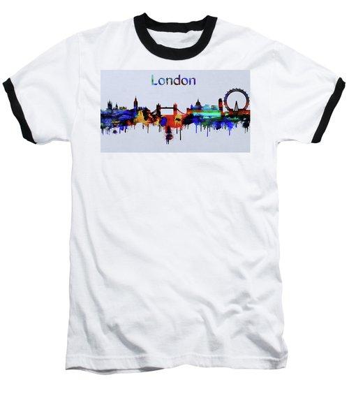 Colorful London Skyline Silhouette Baseball T-Shirt