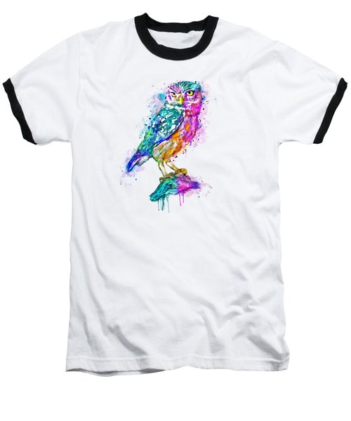 Colorful Owl Baseball T-Shirt by Marian Voicu