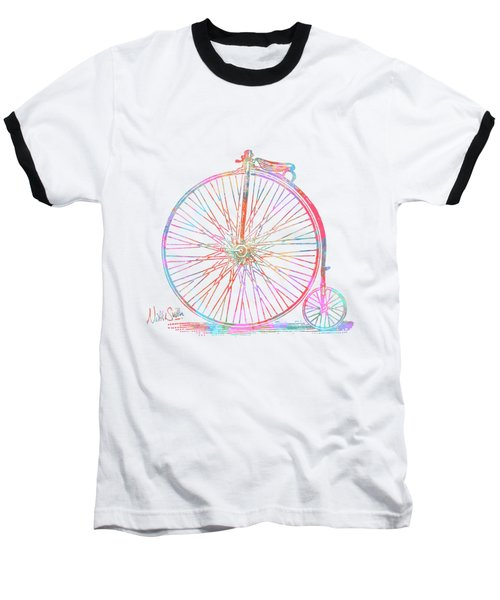 Colorful Penny-farthing 1867 High Wheeler Bicycle Baseball T-Shirt