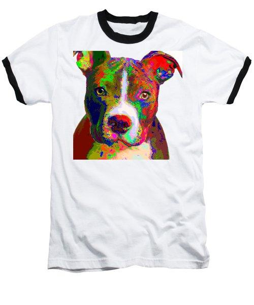 Colorful Pit Bull Terrier  Baseball T-Shirt