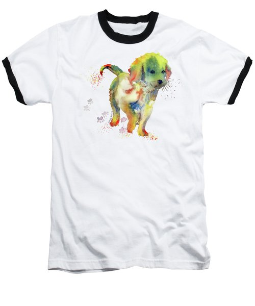 Colorful Puppy Watercolor - Little Friend Baseball T-Shirt by Melly Terpening