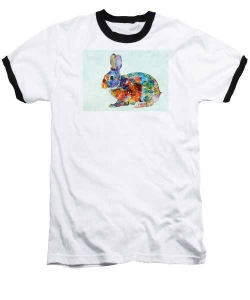 Colorful Rabbit Art Baseball T-Shirt by Olga Hamilton