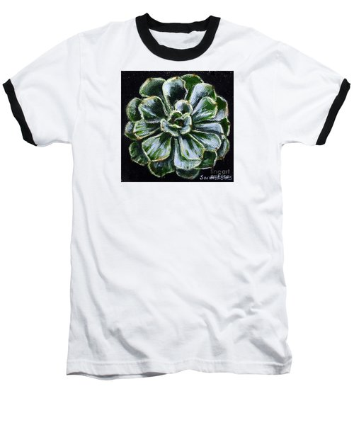 Baseball T-Shirt featuring the painting Colorful Succulent by Sandra Estes