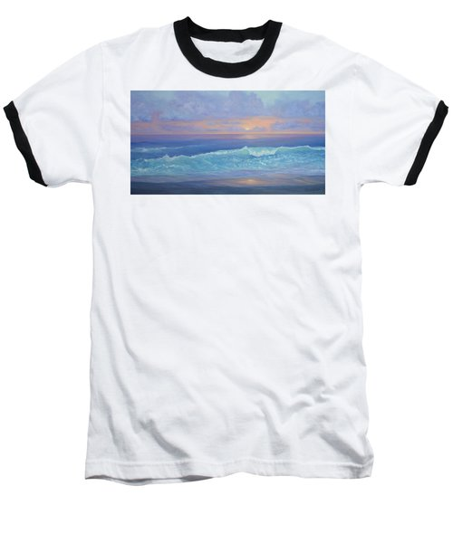 Cape Cod Colorful Sunset Seascape Beach Painting With Wave Baseball T-Shirt