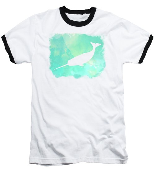 Colorful Watercolor Narwhal Sea Life Coastal Art Baseball T-Shirt
