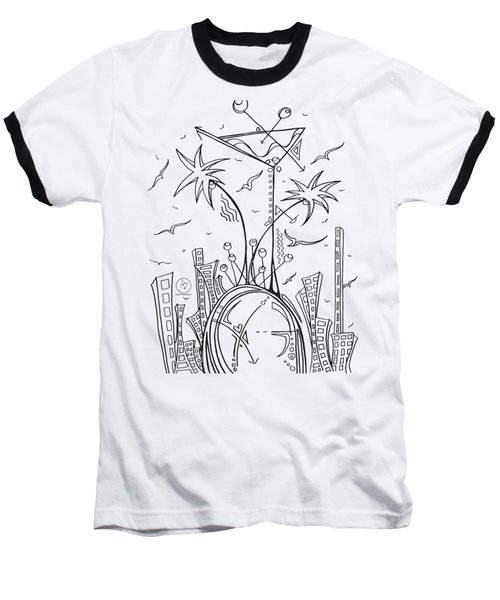 Coloring Page With Beautiful City Martini Drawing By Megan Duncanson Baseball T-Shirt