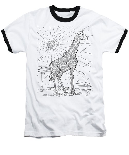 Coloring Page With Beautiful Giraffe Drawing By Megan Duncanson Baseball T-Shirt by Megan Duncanson