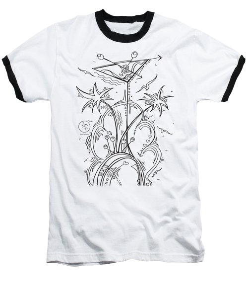 Coloring Page With Beautiful Tropical Martini Drawing By Megan Duncanson Baseball T-Shirt