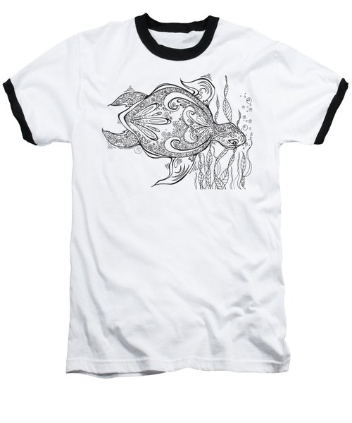 Coloring Page With Beautiful Turtle Drawing By Megan Duncanson Baseball T-Shirt by Megan Duncanson