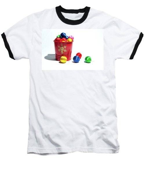 Coloured Baubles In A Pot Baseball T-Shirt