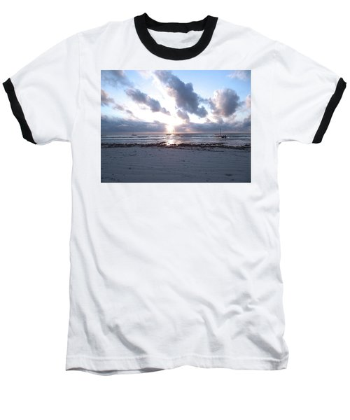 Coloured Sky - Sun Rays And Wooden Dhows Baseball T-Shirt