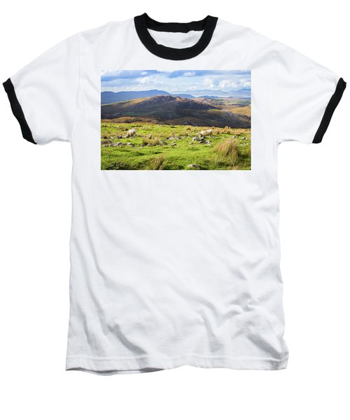 Colourful Undulating Irish Landscape In Kerry With Grazing Sheep Baseball T-Shirt by Semmick Photo