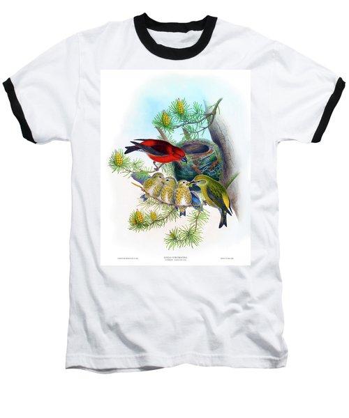 Common Crossbill Antique Bird Print John Gould Hc Richter Birds Of Great Britain  Baseball T-Shirt