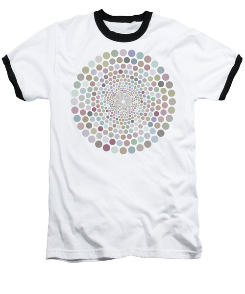 Baseball T-Shirt featuring the painting Vortex Circle - White by Hailey E Herrera