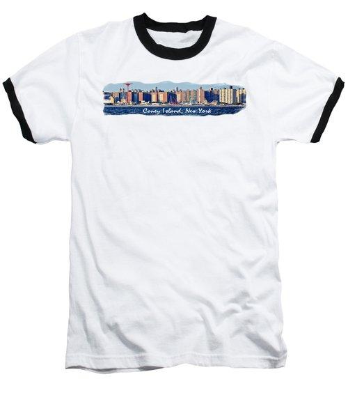 Coney Island Ny  Baseball T-Shirt by Lilliana Mendez