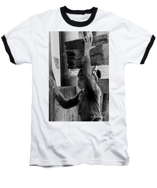 Baseball T-Shirt featuring the photograph Construction Labourer - Bw by Werner Padarin
