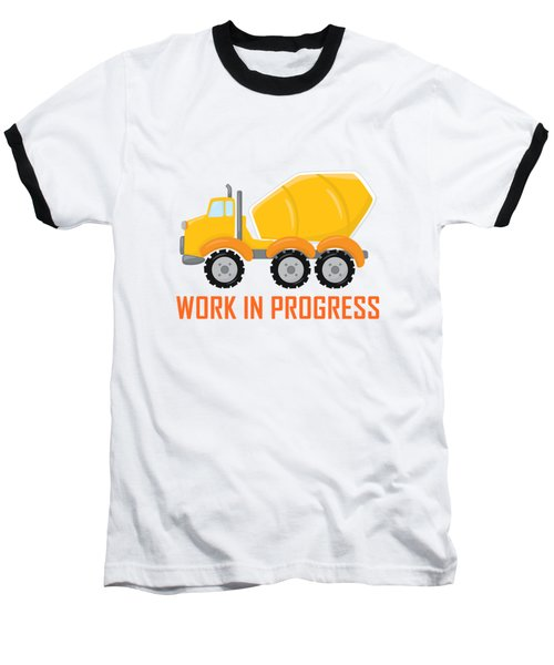 Construction Zone - Concrete Truck Work In Progress Gifts - Yellow Background Baseball T-Shirt