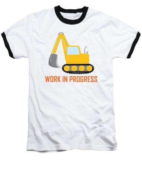 Construction Zone - Excavator Work In Progress Gifts - White Background Baseball T-Shirt