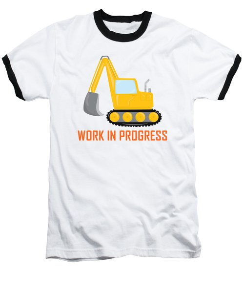 Construction Zone - Excavator Work In Progress Gifts - Yellow Background Baseball T-Shirt