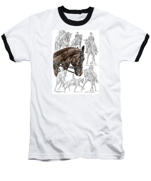 Contemplating Collection - Dressage Horse Print Color Tinted Baseball T-Shirt