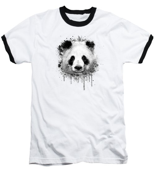 Cool Abstract Graffiti Watercolor Panda Portrait In Black And White  Baseball T-Shirt