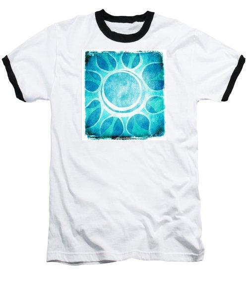 Cool Blue Flower Baseball T-Shirt by Lenny Carter