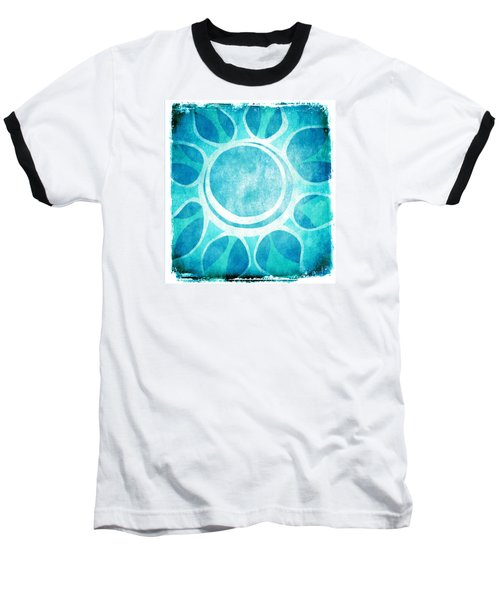 Baseball T-Shirt featuring the digital art Cool Blue Flower by Lenny Carter